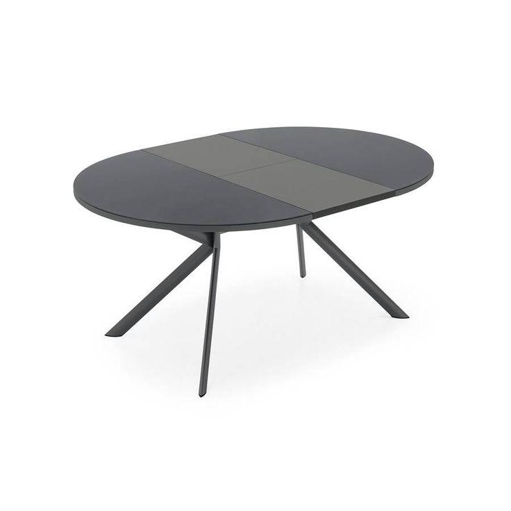Tavolo allungabile rotondo Connubia Calligaris Giove, gambe in metallo inclinate a sezione ellittica e piano in nobilitato, vetro-ceramica o vetro.