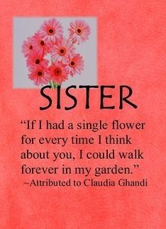 SISTER if I had a flower for every time I think of you, I could walk forever in my garden. @clandynb