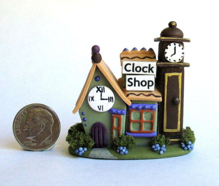Handmade Miniature WHIMSICAL FAIRY CLOCK SHOP - OOAK - by C. ROHAL #CRohal