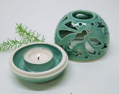 Aqua Dragonfy, handmade pottery THE ORIGINAL Candileria candle holder   BlueRoomPottery - Ceramics & Pottery on ArtFire