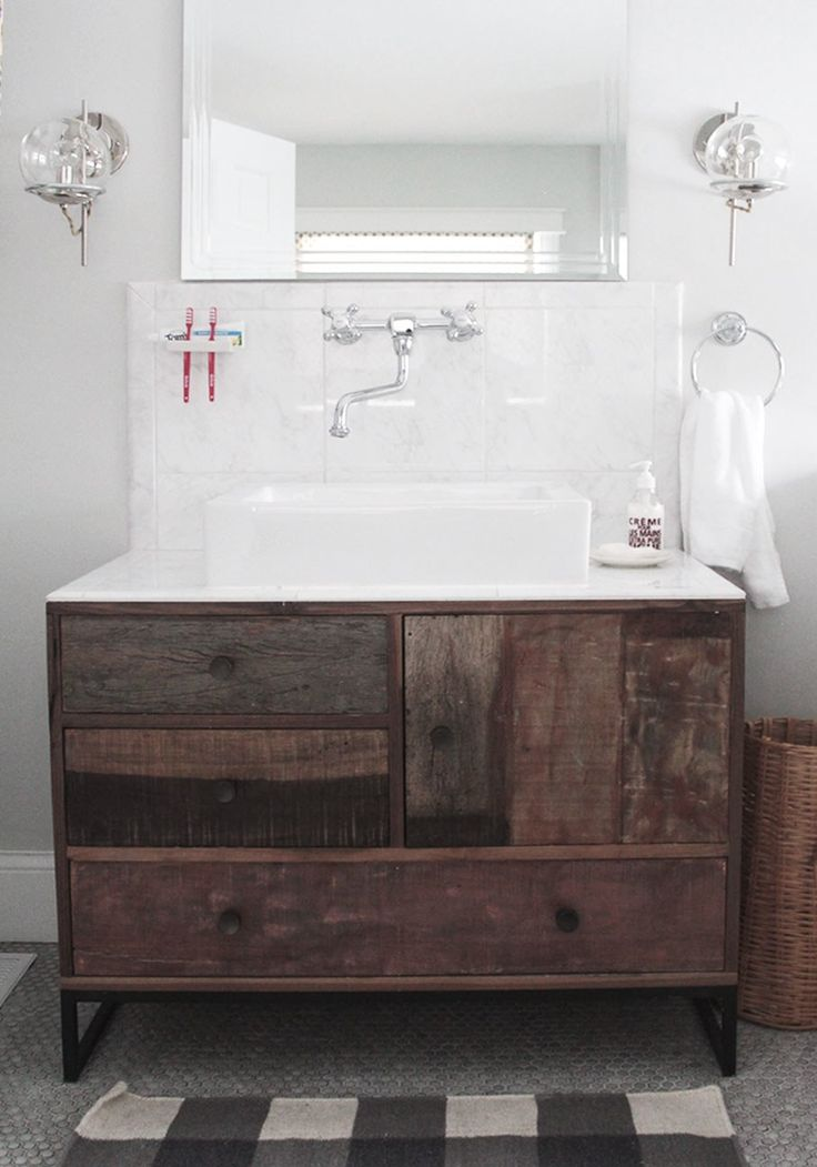Bathroom Inspiring Rustic Wooden Vanity Including Mount Wall Steel Sink Faucets And Cabinet