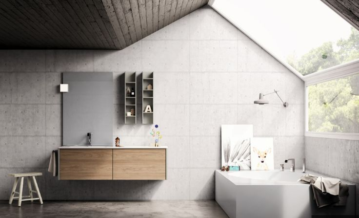 A #concrete finsh for both the ceiling and the wall can give your bathroom a #loft style! #bathdesign #design #MastellaDesign #furniture #wood #wooden #hpl #interiors #decor #interiordesign