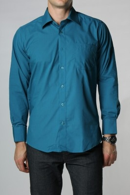 The biz classic button down dress shirt in safari teal for Mens teal button down shirt