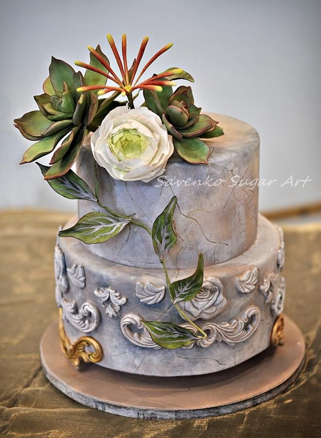Succulent and ranunculus cake - Cake by Savenko Sugar Art