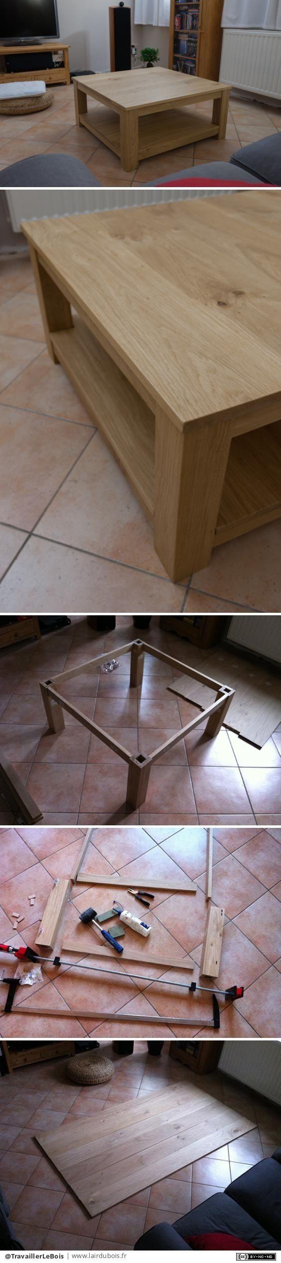Table de salon en chêne par TravaillerLeBois - Réalisation de mon premier meuble. J'ai choisi des planches de chêne rabotées (achetées en GSB) Tout a été fait avec du matériel électroportatif.  Toute la réalisation est détaillée en photos sur cette...