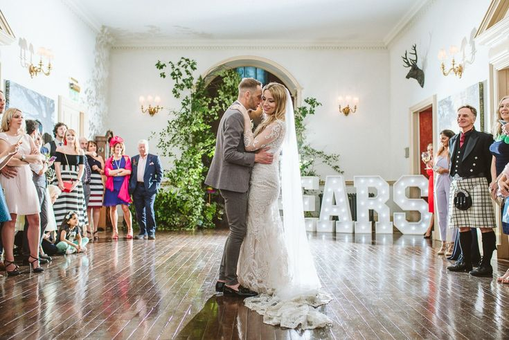 First dance at Fasque Castle estate venue. Dancing and party at castle wedding in Scotland.