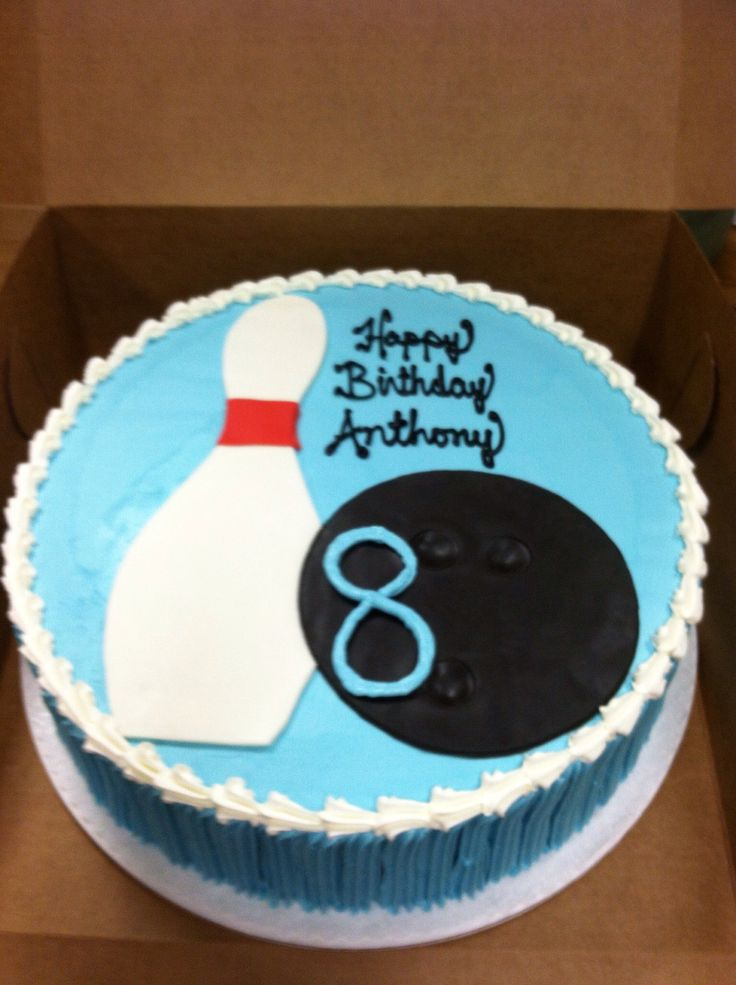 Bowling theme birthday party cake. Buttercream icing with a fondant pin & ball.