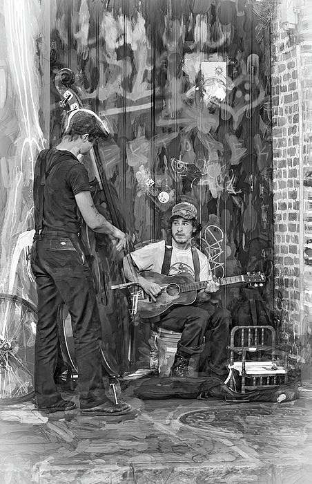 Jammin' In The French Quarter - Paint 2 Bw.  A pair of street musicians perform on St Peter Street in the French Quarter of New Orleans. The graffiti, fake dog poo and potty for donations are bonus features.
