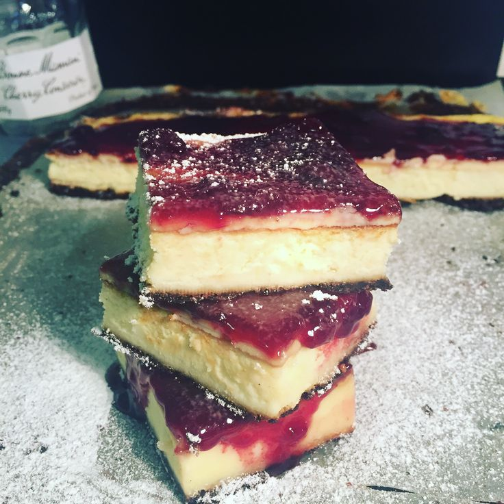 New York Baked Cheesecake with a Ripple Biscuit Base and Bonne Maman Cherry Conserve