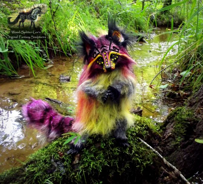 Hand Made Poseable Fantasy Cranberry Raccoon! by Wood-Splitter-Lee.deviantart.com on @deviantART
