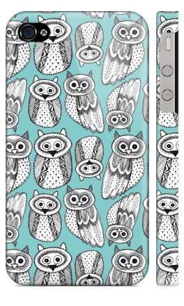 Виниловые наклейки, Телефон, iPhone 4S, 4, черно-белые рисованые совы , BaikalGraphics, животные, сова, птицы, черное, паттерн, винтаж, белы...