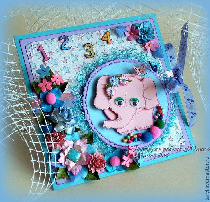 """Купить Детская открытка""""Розовый слон"""" - детская открытка, Открытка ручной работы, открытка на день рождения"""