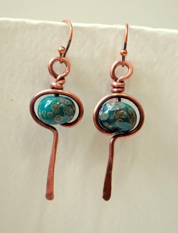 Glass Bead Earrings and copper wraps