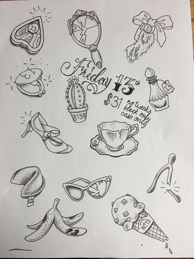 Custom Friday the 13th flash sheet done by Kristen Steele at Walls of Wonder Tattoo in Dover, DE.