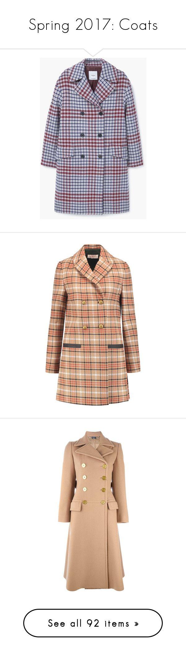 """Spring 2017: Coats"" by lorika-borika on Polyvore featuring outerwear, coats, checkered coat, mango coats, checked coat, wool blend coat, long sleeve coat, jackets, coats & jackets и tan"