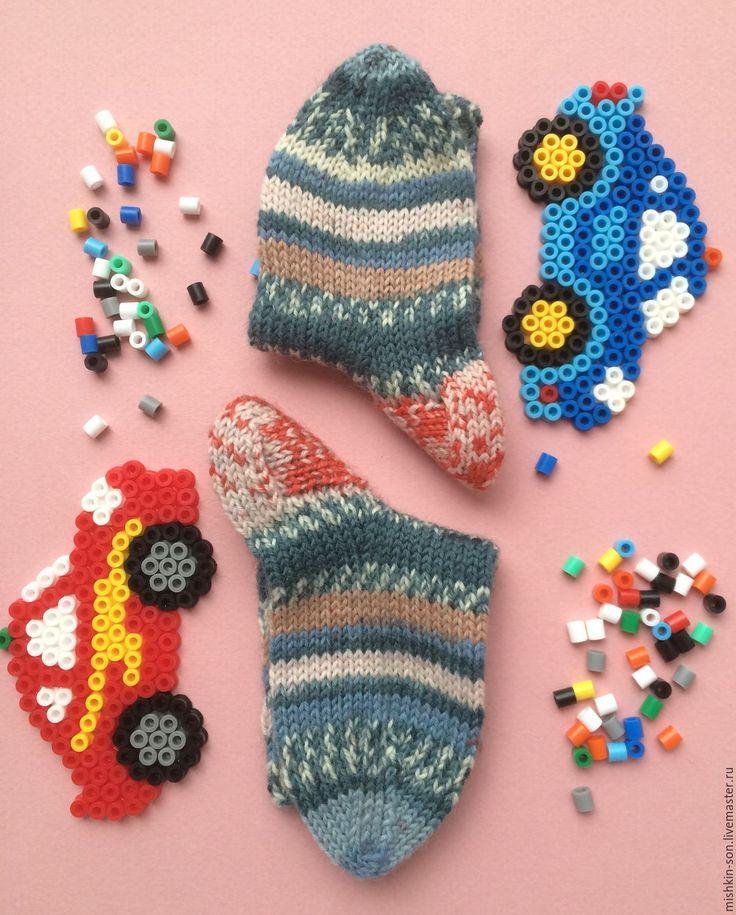 Купить Носки детские Мозаика - синий, орнамент, носки ручной работы, носки, носки вязаные