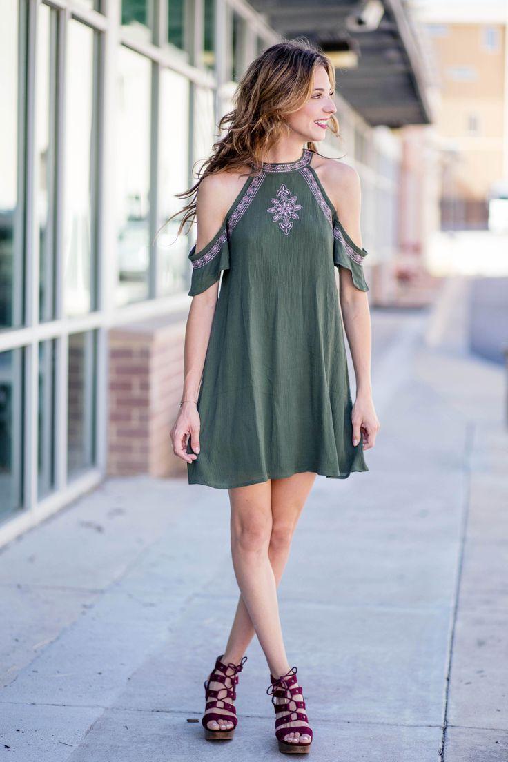 Embroidered Cold Shoulder Shift Dress