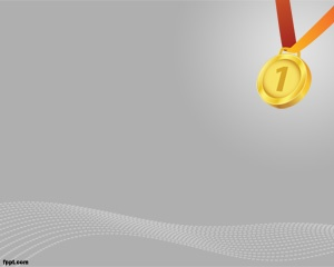 If you are looking for a champion background for PowerPoint then this free medal PowerPoint template is for you, with a gray background with a medal image on the corner and ready to celebrate the first position