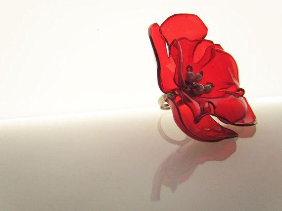 Bright red oversized ring Large round flower Statement by ekoista