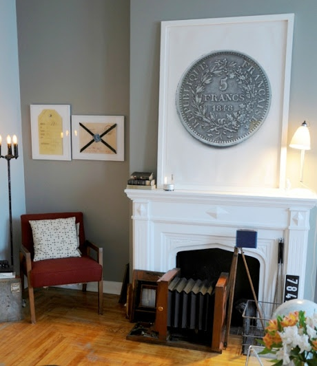 living room; fireplace; oversized art