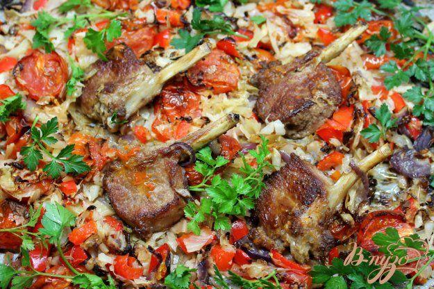 ♔ Delicious Food: Каре ягненка запеченое с  капустой, помидорами и перцем - пошаговый рецепт с фото