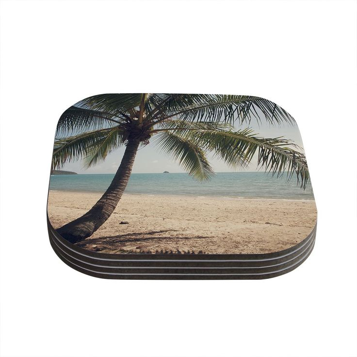 Kess InHouse Catherine McDonald 'Tropic of Capricorn' Ocean Photography Coasters (Set of 4) (Tropic of Capricorn), Blue (Wood)