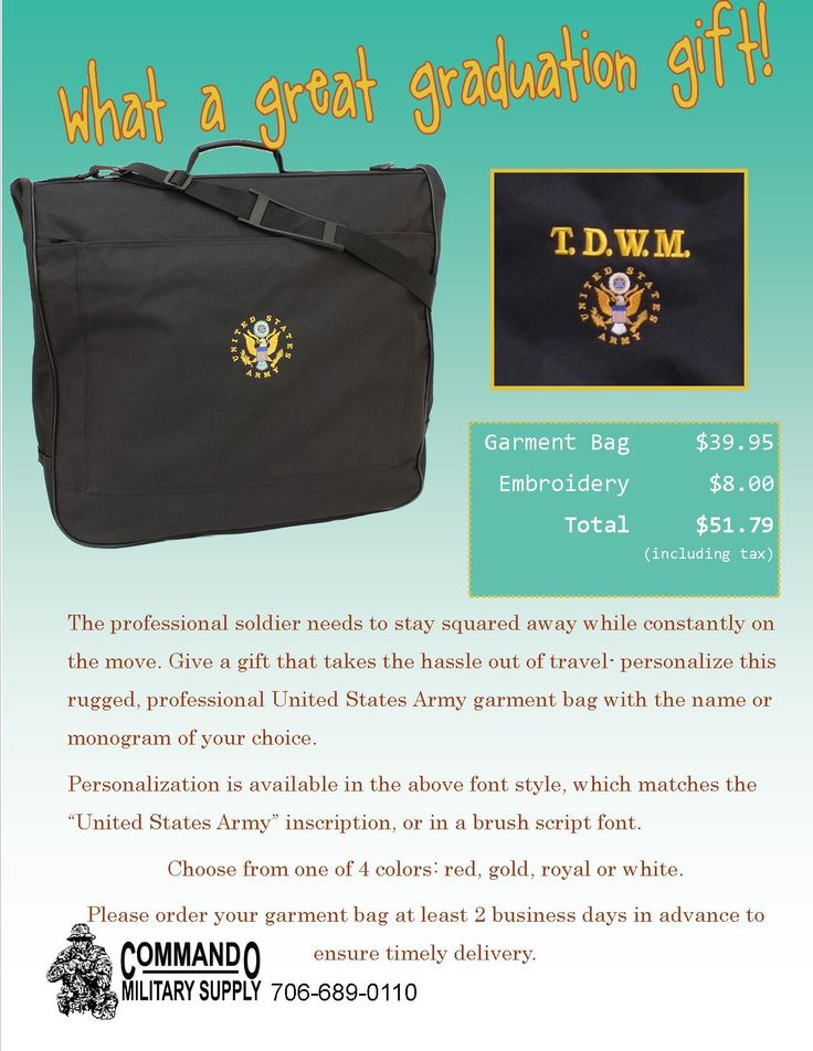 What to get the soldier who has it all? Something to carry it in! This US Army garment bag is sure to please.