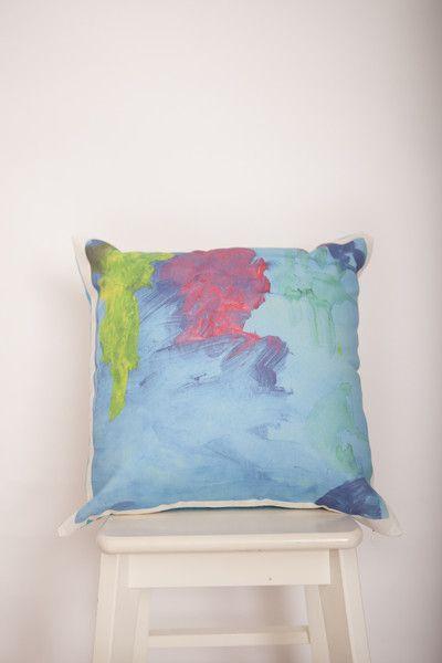 Custom art cushion. Artwork by Gracie 2 yrs.