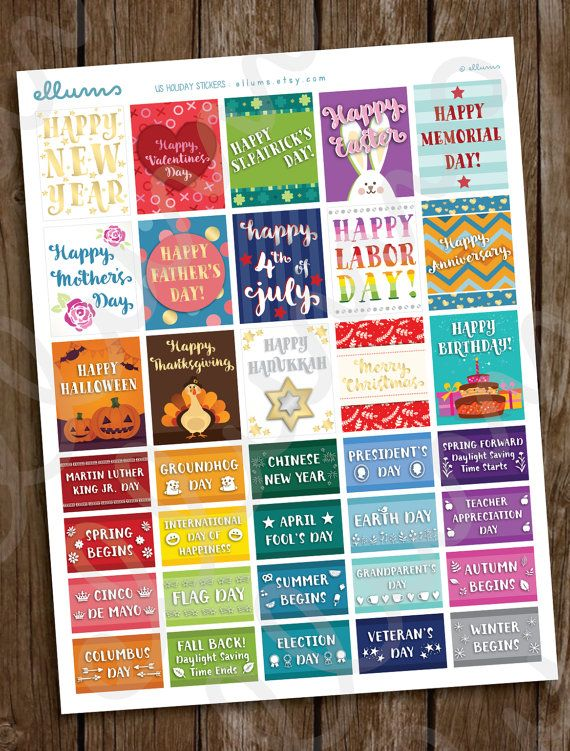 PRINTABLE Holiday Planner Stickers | Pdf Jpg Files | US Holiday Stickers | Calendar Planner | Erin Condren | Independence Day | 4th of July