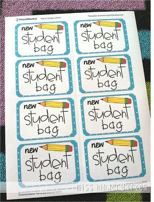 Miss Kindergarten: Getting Organized! {new student bags}