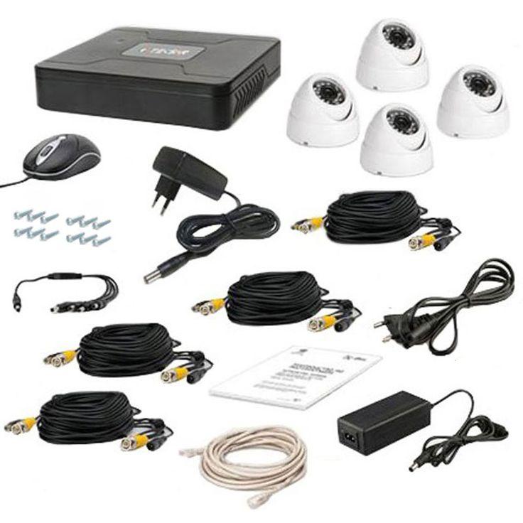 Комплект проводного видеонаблюдения Tecsar 4OUT-DOME