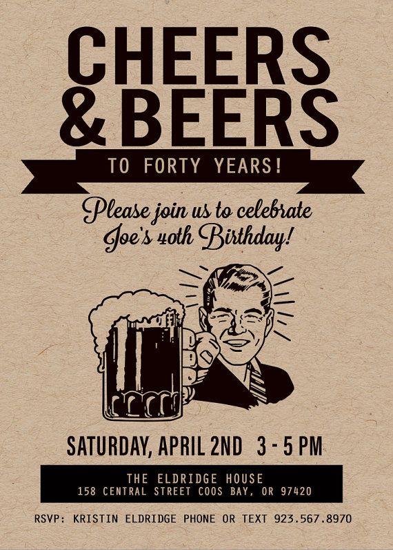 Cheers and Beers Birthday Invitation Beer by kjoyeldridgeshop #cheersandbeers #beerbirthday #beerparty