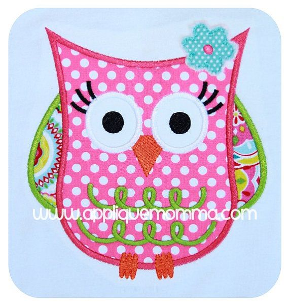 Owl 5 Applique Design by AppliqueMommaDesigns on Etsy