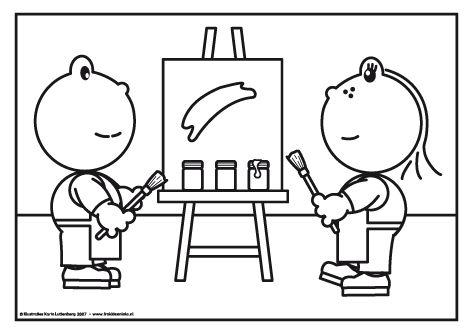 Frokkie en Lola schilderen Een kloddertje roze hier, een kloddertje blauw daar. Het wordt een heel kunstwerk wat Frokkie en Lola aan het schilderen zijn. Help je ze een handje