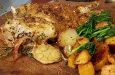 Nutmeg Roast Chicken with Squash and Spinach Recipe