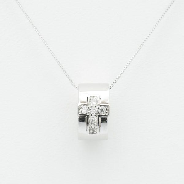 K18ホワイトゴールドダイヤリングネックレス クロスデザイン ダイヤ:0.07ct
