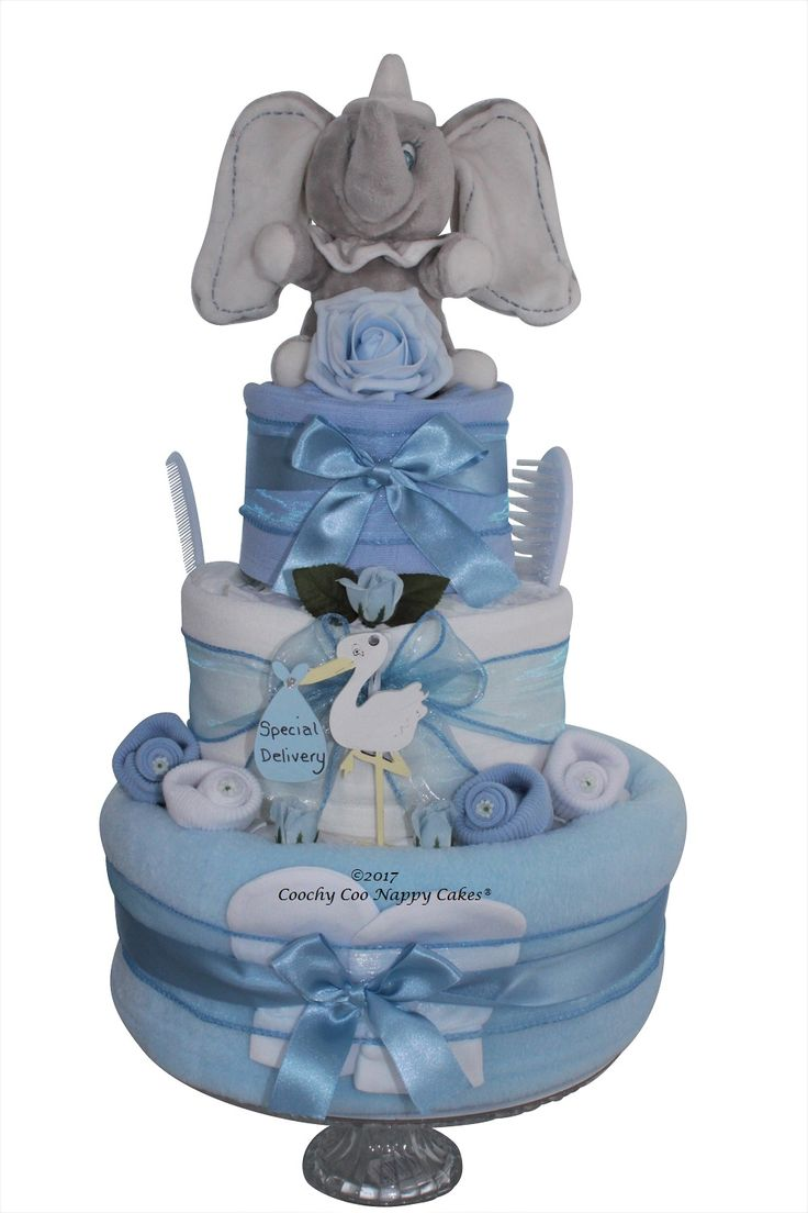 3 tier blue baby boy baby shower nappy cake gift with dumbo elephant toy - by Coochy Coo Nappy Cakes