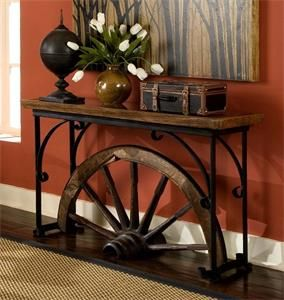 Western Decor Teak Wood Winchester Sofa Table