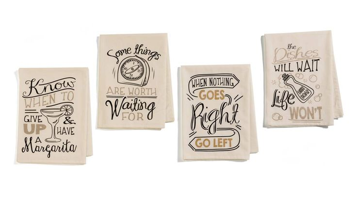 "Cotton Kitchen Towel 28x28""  metallic gold & metallic coper typograph ""The dishes will wait, life won't"" ""Know when to give up & have a margarita"" ""when nothing goes right, go left"" ""Some things are worth waiting for"""