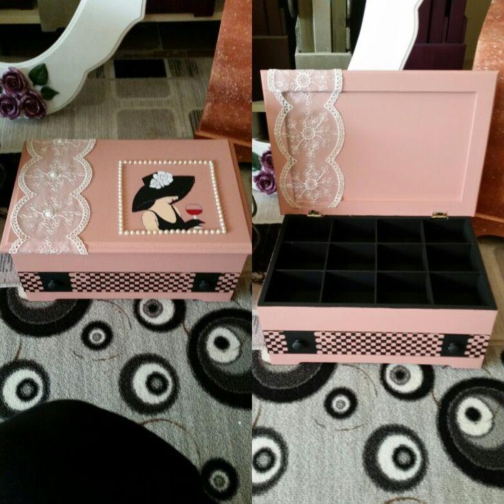 Ahşap takı kutusu. Ahşap boyama. Wooden paint. Wooden jewelry box