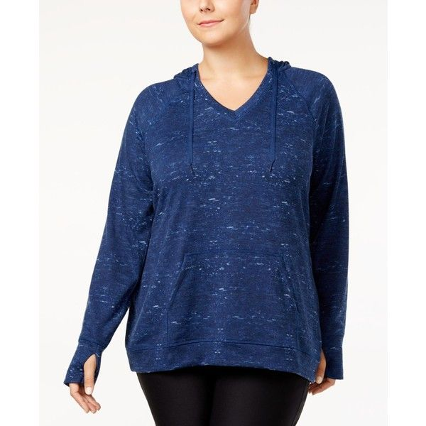 Ideology Plus Size Space-Dyed Hooded Top, Created for Macy's ($50) ❤ liked on Polyvore featuring plus size women's fashion, plus size clothing, plus size tops, plus size hoodies, lucky blue, blue hooded sweatshirt, women's plus size hooded sweatshirts, women's plus size hoodies and womens plus hoodies