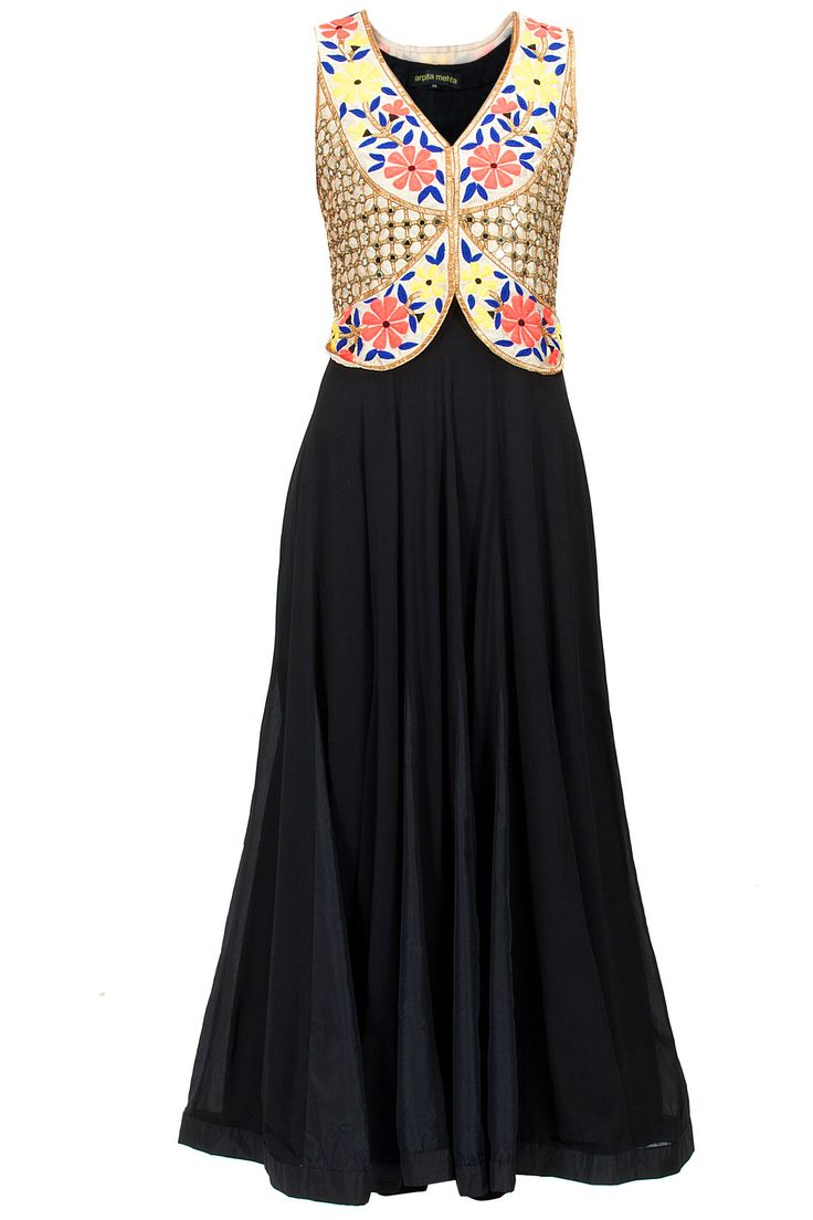 Black kurta set with beige embellished vest available only at Pernia's Pop-Up Shop.