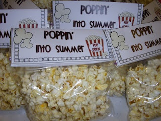 cute idea for a student gift, end of year or back to school night: thanks for poppin' into 2nd grade...