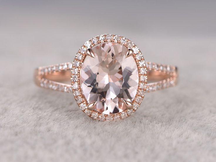 Rose Gold Morganite Halo Engagement Ring With Diamond 2.5 Carat Split Shank Promise Band 14k/18k - BBBGEM