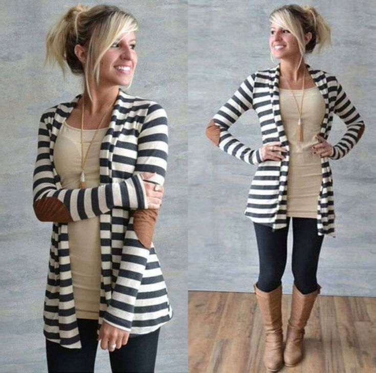Women's Elbow Patch Long Sleeve Striped Open Front Cardigan