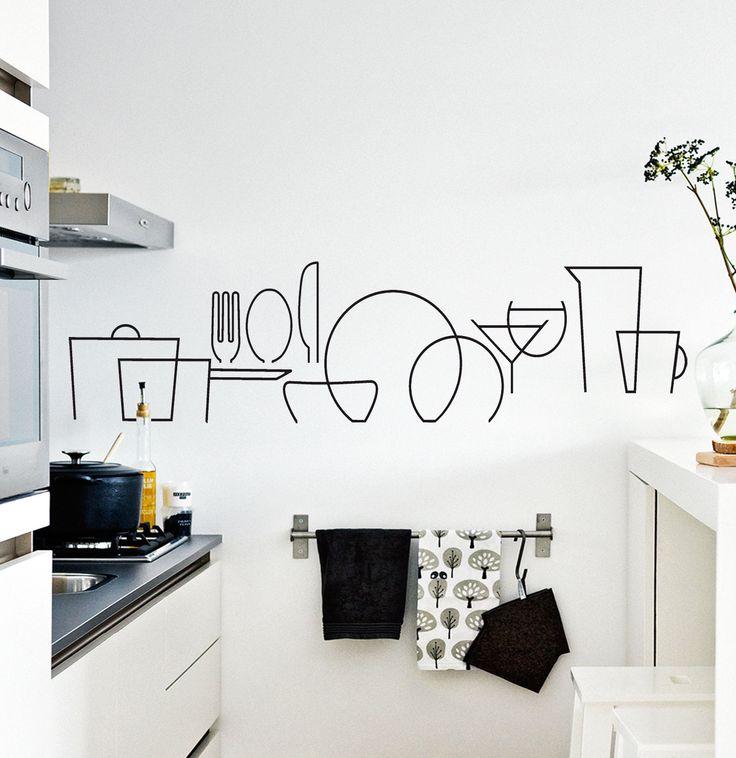 Vinilo decorativo para cocinas. Muy bonito en la pared o debajo de la campana. Se puede colocar en un espacio vertical separando las piezas.