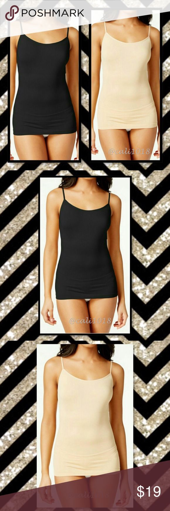 Black & Beige Cami Tops 1/$19 2/$30 New Beige and Black Seamless Cami One Size Color: Beige and Black Material: 90% Nylon 10% Spandex Made in China Size: One Size Fits Most 1/$19 or 2/$30 Price firm Glam Squad 2 You Tops Camisoles