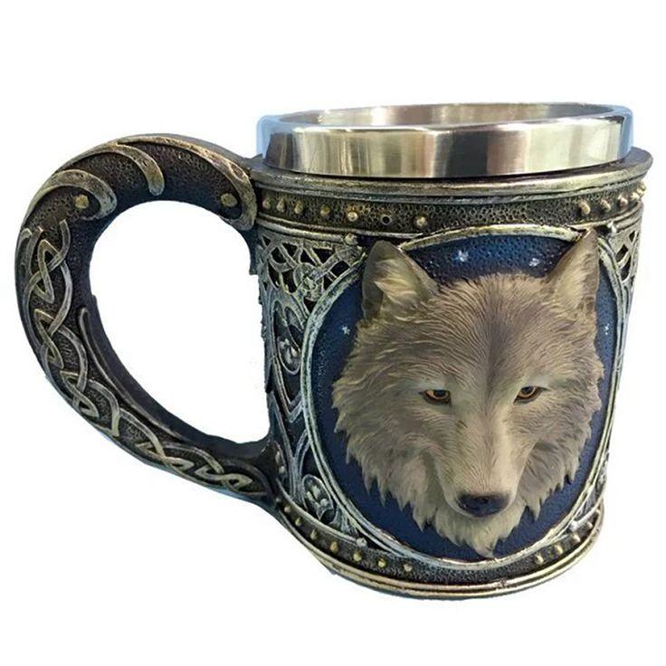 공포 3D 현실적인 늑대 왕 해골 잔 더블 벽 스테인리스 스틸 동물 늑대 수지 찻잔 컵 긱 커피 컵 크리스마스 선물