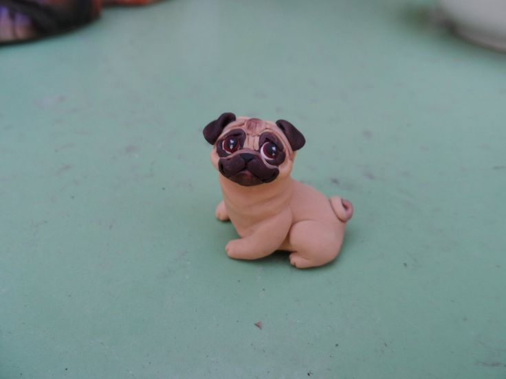PUG Figurine Hand Sculpted polymer clay by Raquel at the by theWRC