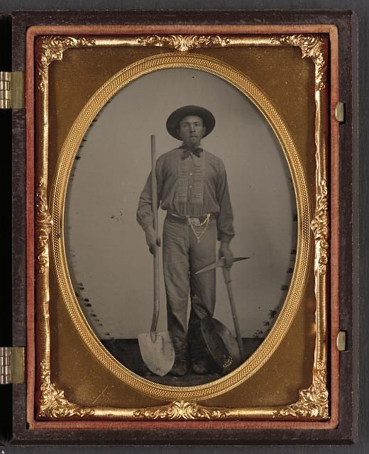 [Unidentified man with gold mining equipment and wearing a U.S. beltplate], c. 1865. Library of Congress